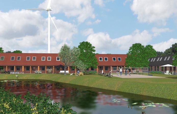 Impressiebeeld van de toekomstige buurt voor arbeidsmigranten aan de Knokert in Veghel. Met op de achtergrond de geplande windmolen langs de A50.