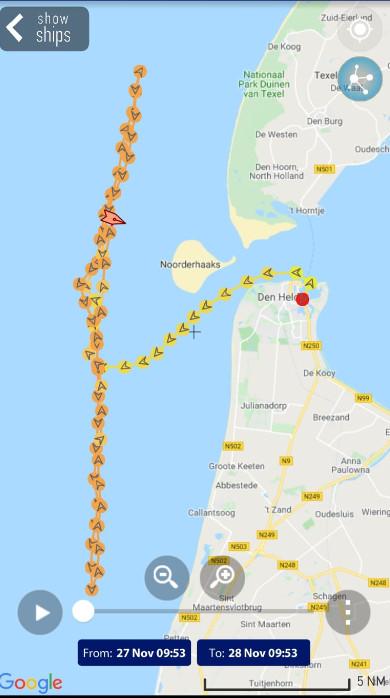 De route die Urker kotter 'Lummeltje' heeft afgelegd. Maandag is het schip vertrokken vanuit Den Helder om te vissen op garnalen.