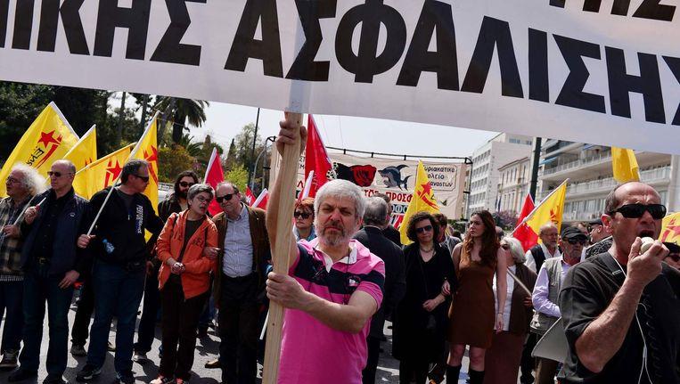 Ook begin april protesteerden ambtenaren al tegen onder meer de pensioenplannen van de regering.