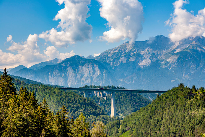 Europe Bridge at Brenner Highway in Tirol, Italy