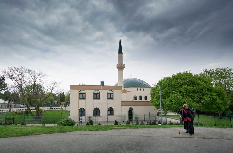 Een moslima bij een moskee in Wenen. Beeld null