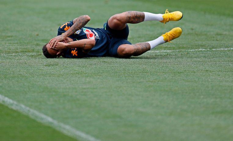 Neymar tijdens een training. Beeld EPA