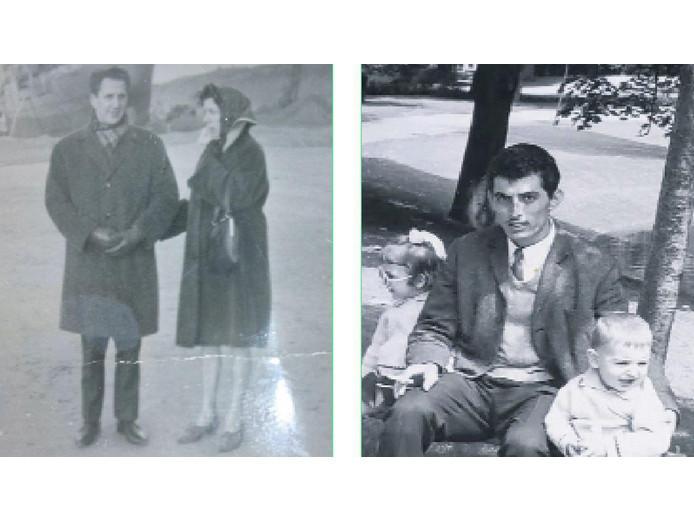 Links een foto van mogelijk Ton en Jannie. Rechts Ilias Georgiadis met Maria en haar broer Kosta.