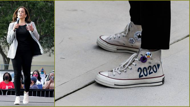 Politiek op sneakers: Waarom de Converse-gympen van Kamala Harris véél meer zijn dan gewoon een paar schoenen