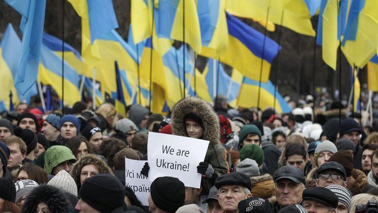 Het geweld op het Maidanplein wordt herdacht. Beeld ap