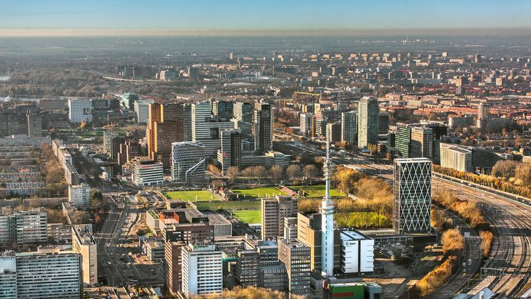 Luchtfoto van de Zuidas in Amsterdam. Beeld anp