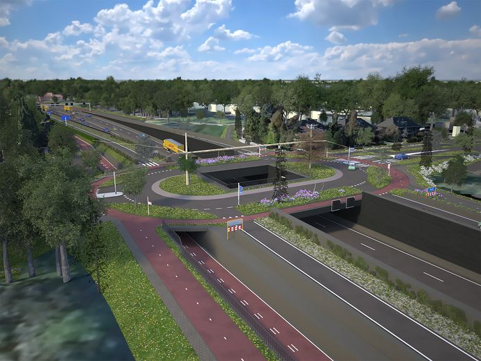 Verdiepte kruisingen op de N65 zoals die bij de Vijverbosweg-Boslaan lossen volgens het burgerinitiatief 'N65 Duurzaam' niet alle knelpunten op.