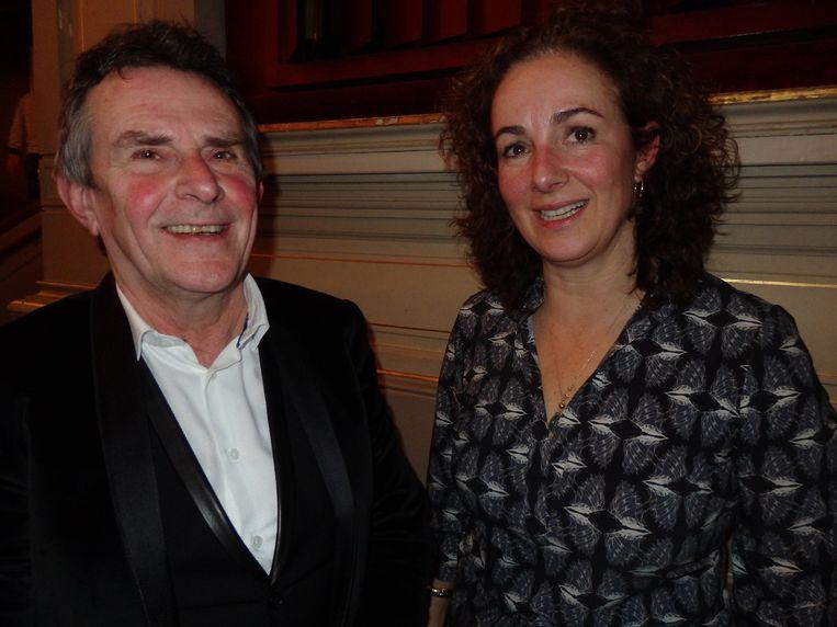 Volkskrant-éminence grise Jan Tromp en ex-politica Femke Halsema, die de avond lekker opstookte. Beeld -