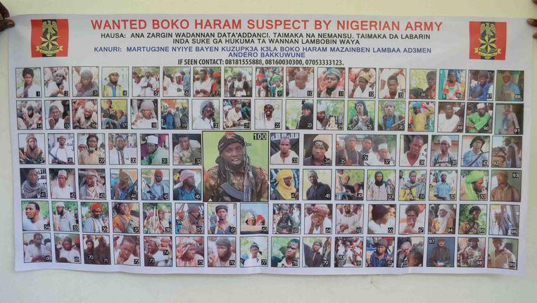 Een poster met gezochte Boko Haram-leden.