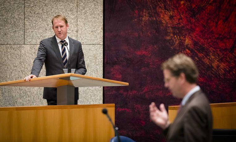 Martin Bosma (PVV) in debat met Kees Verhoeven (D66). Beeld anp