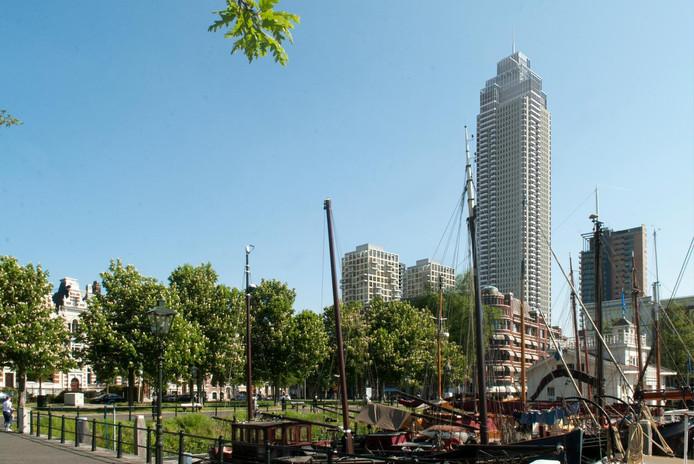 Een impressie van de Zalmhaventoren vanuit de Rotterdamse Veerhaven.