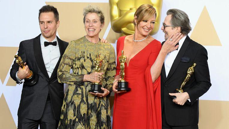 Oscarwinnaars Sam Rockwell, Frances McDormand, Allison Janney en Gary Oldman. Beeld WireImage
