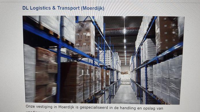 Screenshot website DL logistics