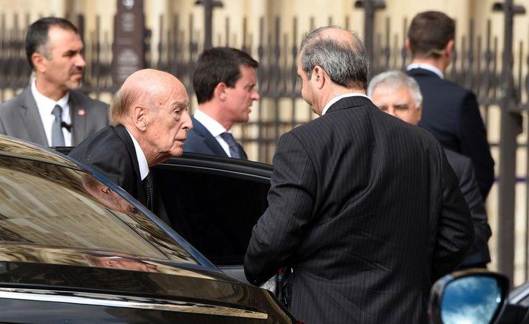 Voormalig president Valery Giscard d'Estaing arriveert bij Notre Dame Beeld afp
