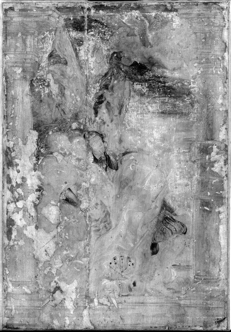 De infraroodfoto van de olieverfschets van Rubens. Beeld