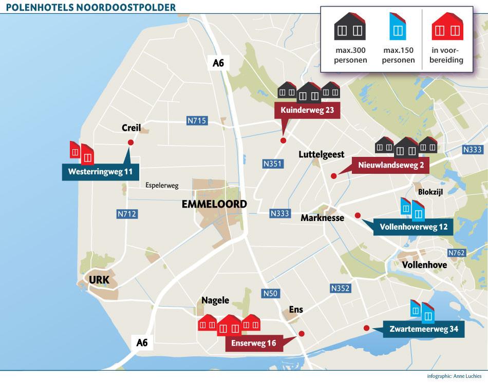 Plekken met Polenhotels in de Noordoostpolder. Level One is verantwoordelijk voor de drie grote Polenhotels en de wat kleinere in Kraggenburg. Arbeidsmigrantenlocatie De Lovinkhoeve in Marknesse is van uitzendbureau Abeos en in Creil heeft FlexxInvestments plannen.