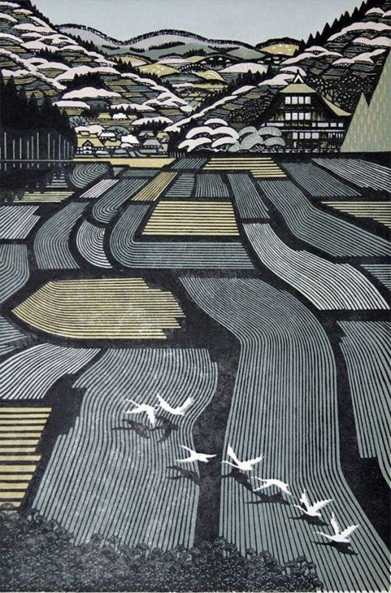 Ray Morimura: Houses in Tamugimata. Houtsnede, 1999. Beeld