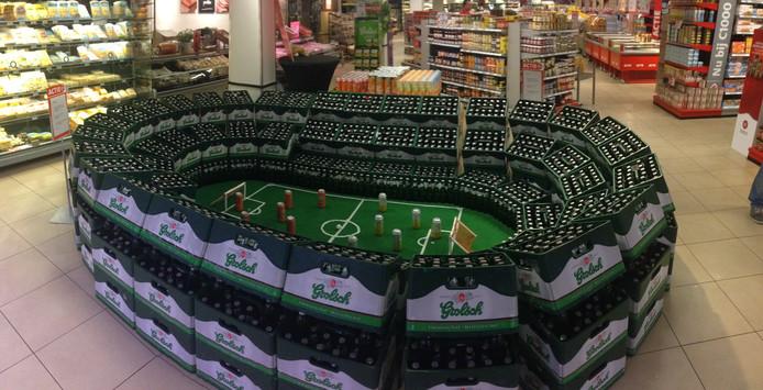 Het stadion van bierkratten.