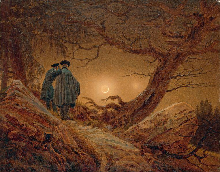 Zwei Männer in Betrachtung des Mondes (1819-1820) door Caspar David Friedrich. Beeld Getty