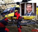 Reddingswerkers aan het werk in het ravijn waar de 14-jarige Arend uit Dordrecht werd aangetroffen. Rechtsboven: burgemeester Wouter Kollf van de gemeente Dordrecht.