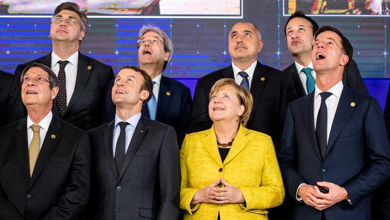 Europese leiders tijdens een EU-top. Beeld ap