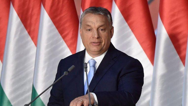 De Hongaarse premier Viktor Orbán, Boedapest is boos over kritische uitlatingen van de vertrekkend Nederlandse ambassadeur aan het adres van de regering van premier Orbán. Beeld epa