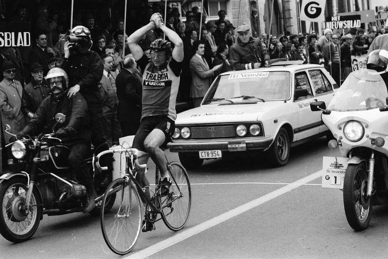 Jan Raas, winnaar van de Ronde van Vlaanderen in 1979. Vier jaar later zou de bebrilde Nederlander opnieuw triomferen.