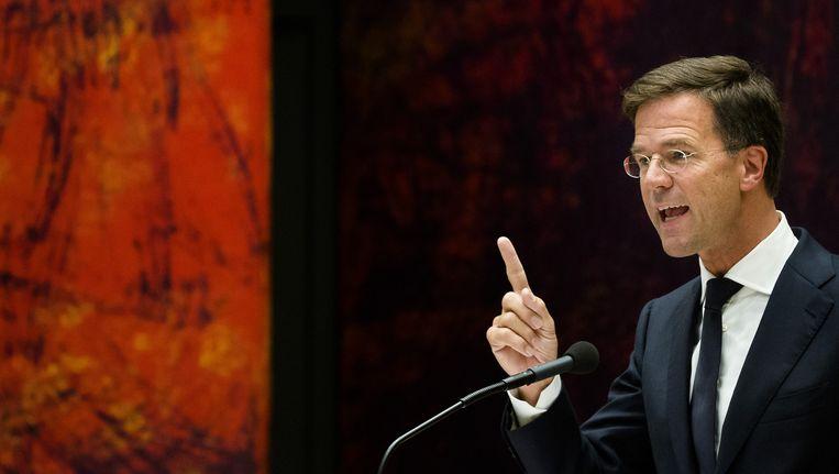 Premier Mark Rutte tijdens het debat over de opvattingen van de minister-president over de ik-mentaliteit in Nederland. Beeld anp