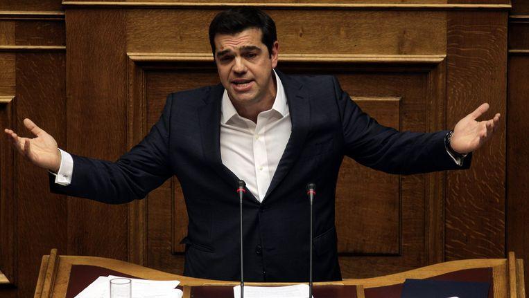 Alexis Tsipras gaf een speech voor het Griekse parlement, vlak voor de vertrouwensstemming.