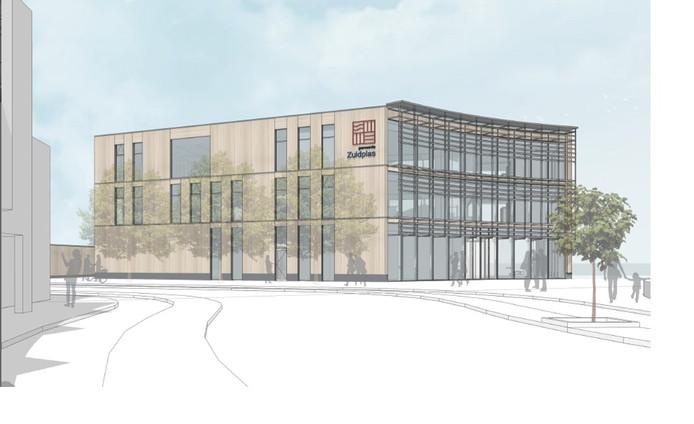 Schets van het net nieuw gebouwde gemeentehuis van Zuidplas.
