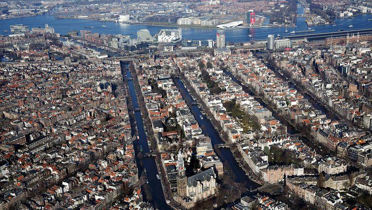 Luchtfoto van het centrum van Amsterdam. Beeld anp