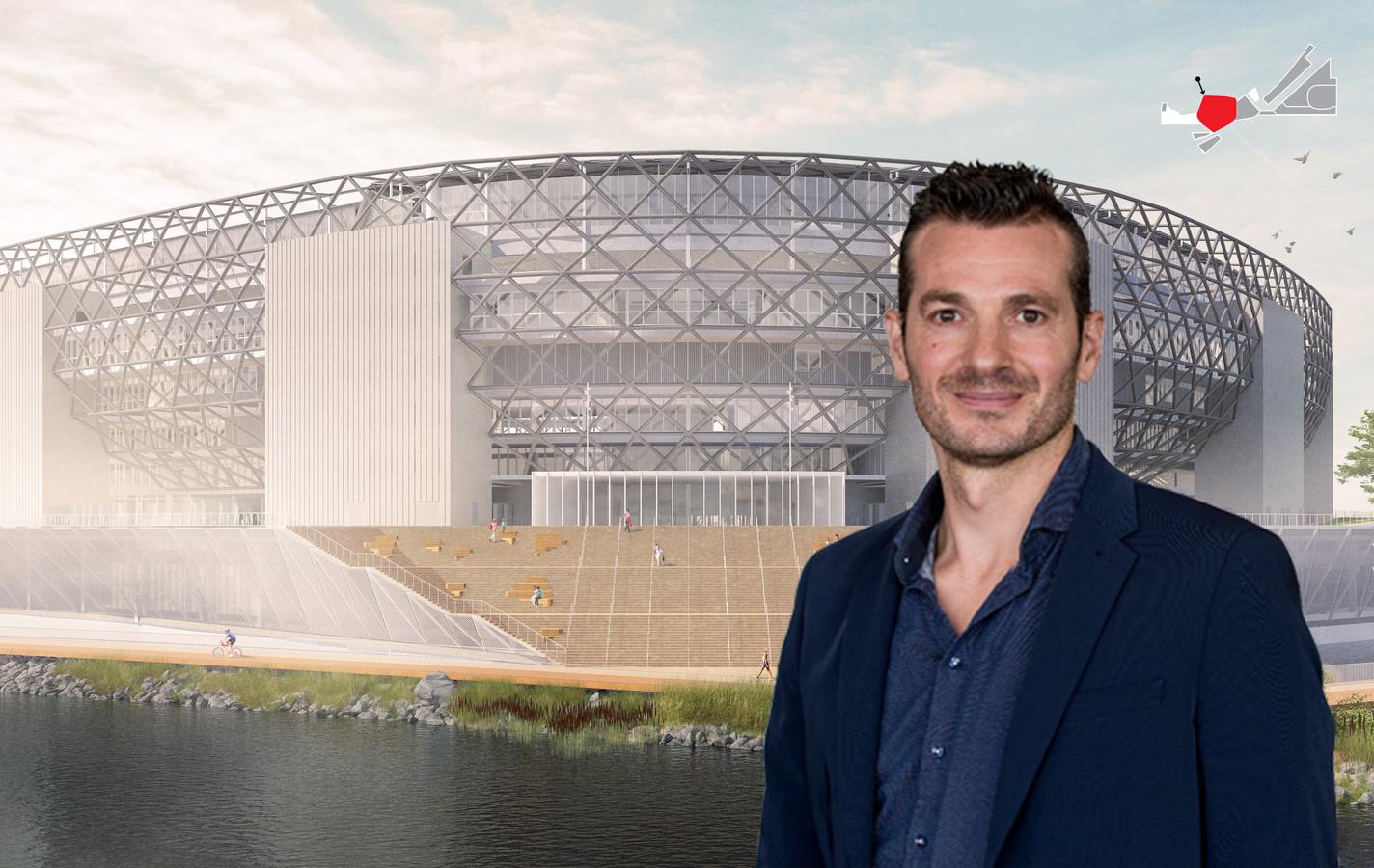 Impressie van het beoogde stadion op de zuidoever van de Nieuwe Maas.
