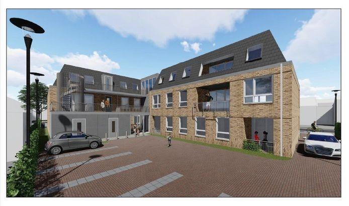 Kaatsheuvel, impressie achterzijde nieuwe appartementencomplex Bernstaete aan de Berndijksestraat.