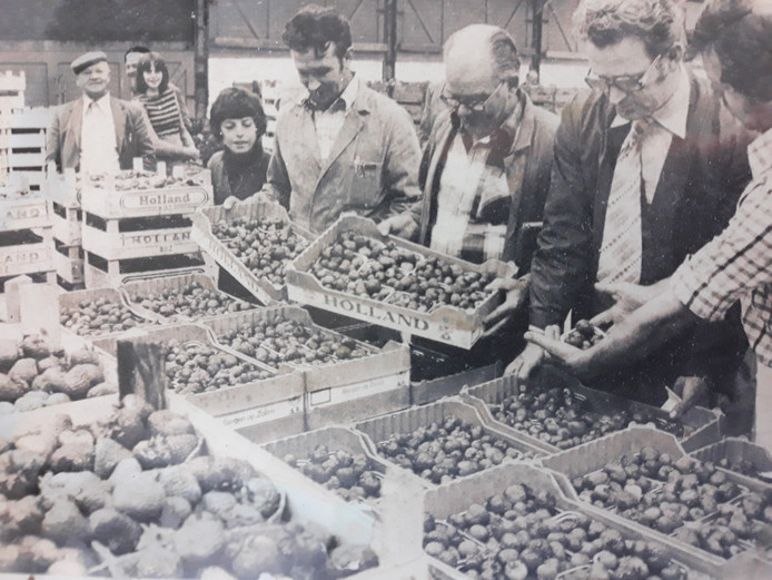 Opa Franken (linksboven) op de veiling.