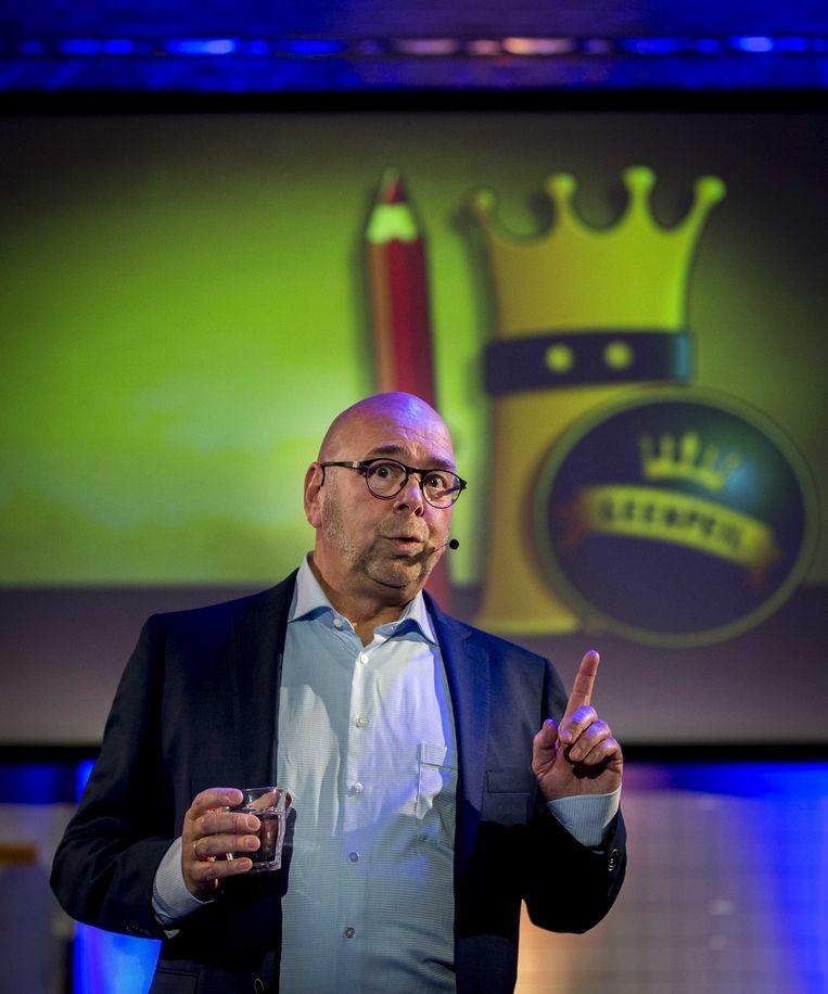 Jan Dijkgraaf, van GeenPeil, bij de presentatie van de plannen. Beeld ANP