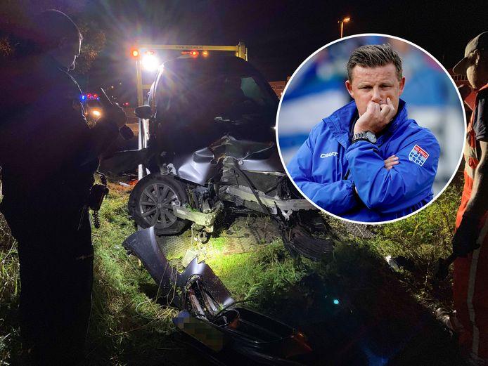 De zwaar beschadigde Mercedes van Stegeman (inzetje) na het ongeval op  de Oude Veluwseweg in Apeldoorn.