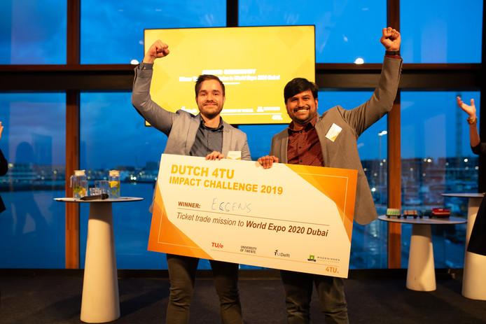 Pepijn Beekan en Dilu Mathew zijn de winnaars van de 4TU Impact Challenge.