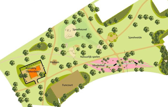Deze schets laat zien hoe het Park Stakenkamp eruit gaat zien als de laatste fase is afgerond. Met veel plekken voor natuurlijk spelen en een vlinderhof.