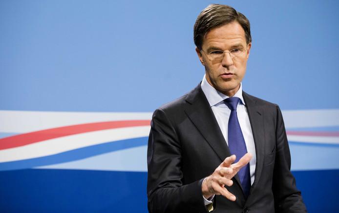 Premier Mark Rutte tijdens de wekelijkse persconferentie na de ministerraad.