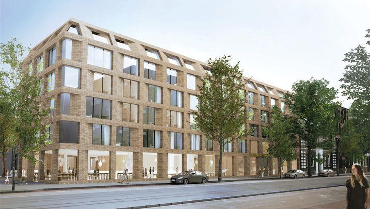 Het aantal Airbnb-accomodaties in Amsterdam stijgt, maar ook het aantal hotelkamers. Zo wordt aan de Sarphatistraat nu gebouwd aan het Hyatt Regency, een vijfsterenhotel met 211 kamers. Beeld illustratie: Aedes Vastgoed
