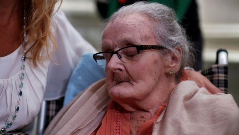 Clare Hollingworth bij de viering van haar 105de verjaardag in Hongkong op 10 oktober 2016.