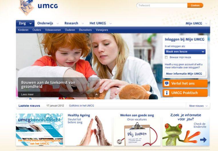 Screenshot van de website van het UMCG in Groningen. Het is niet bekend of deze website bij de 25 hoort die niet goed beveiligd zijn. Beeld