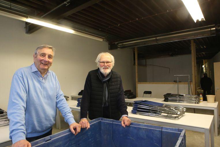 Ondervoorzitter Daniël Raymaekers en voorzitter Johan Bekaert op de nieuwe locatie voor BOM