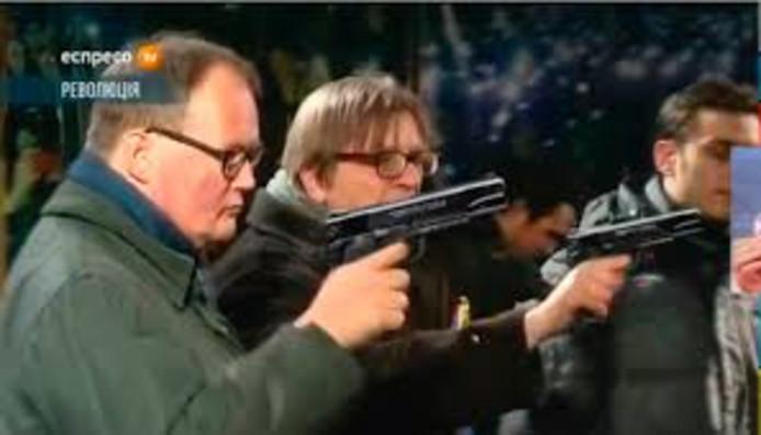 Hans van Baalen en Guy Verhofstadt op een fotomontage die Hans van Baalen heeft gevonden op internet en waarschijnlijk afkomstig is van Russische makers.