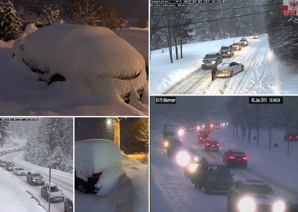 De sneeuw zorgt voor grote chaos in Oostenrijk.