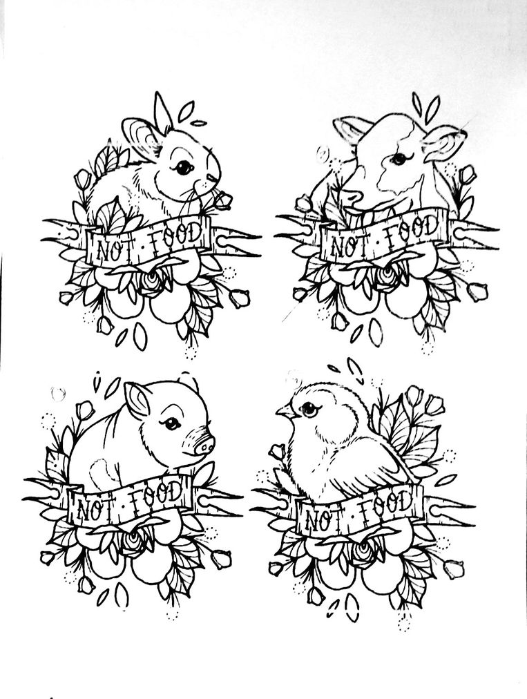 Veganisten zijn tegen dierenleed. Dat zie je ook in enkele tattoo-designs terug.