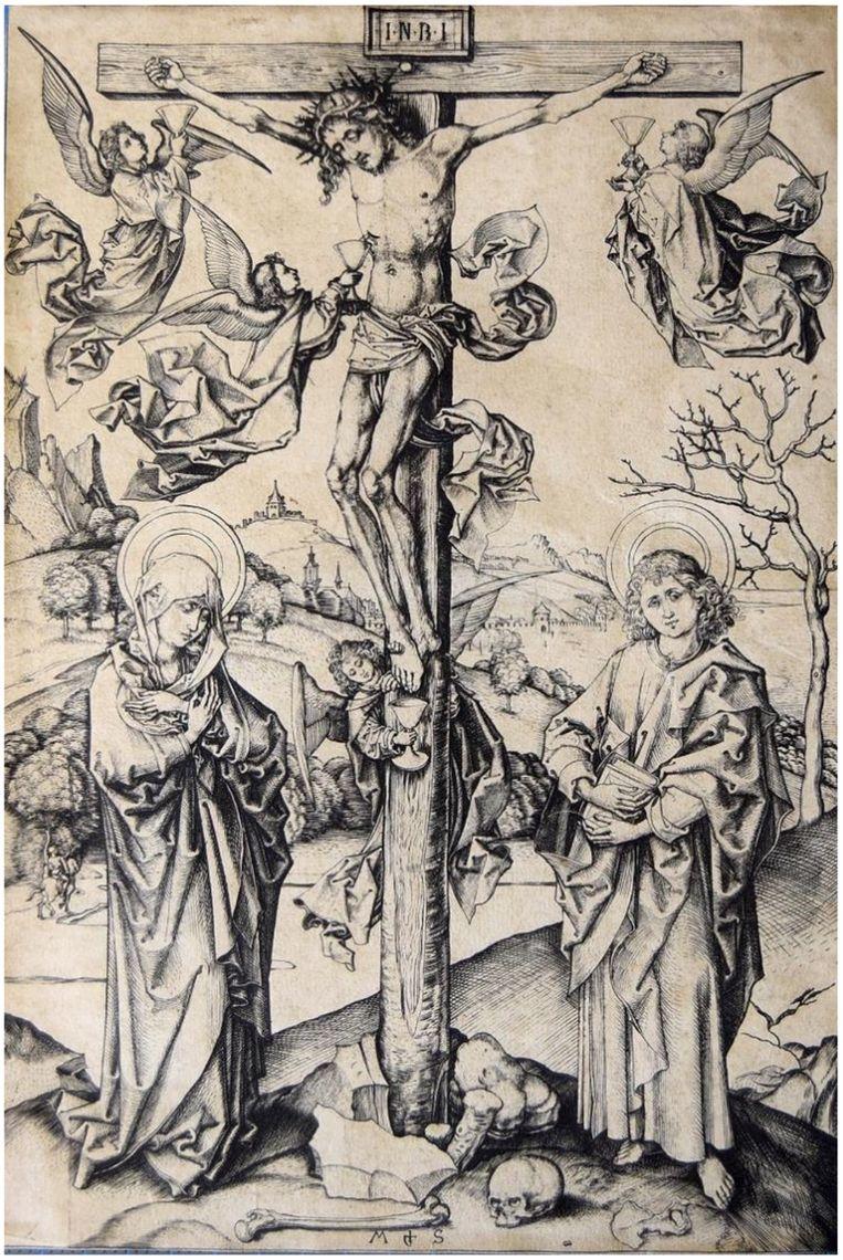 'Kruisiging met vier engelen', Martin Schongauer, ca. 1480/1485. Beeld