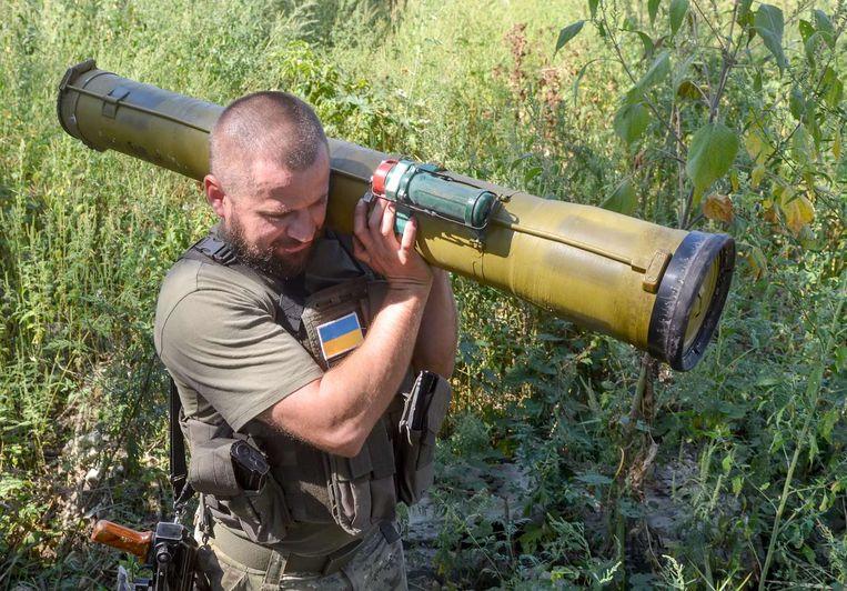Een Oekraïense militair van het Kiev-1 bataljon in Slavjansk. Beeld afp
