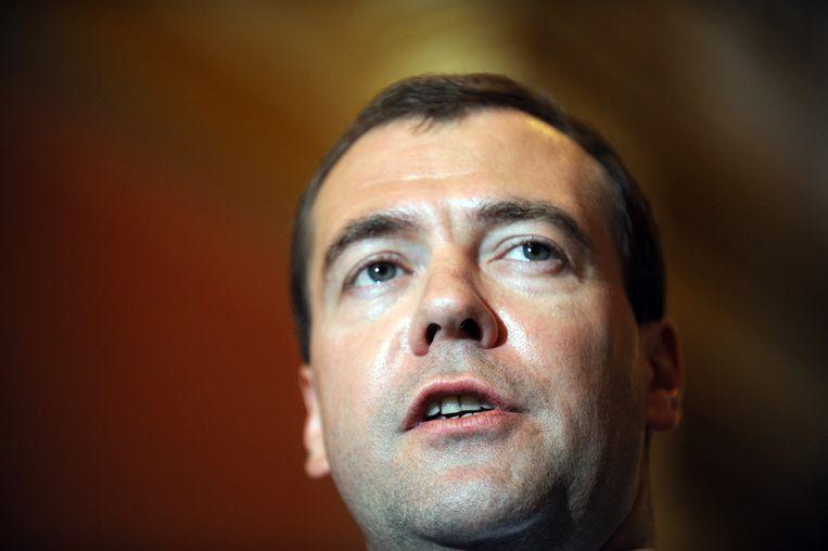 Russische premier Dmitri Medvedev verweet de EU dat het geen oog had voor de belangen van zijn land Beeld afp