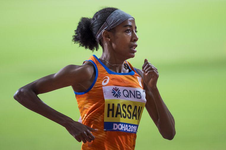 Sifan Hassan tijdens de vrouwen 1500 meter finale bij de IAAF World Athletics Championships 2019. Beeld EPA